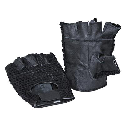 Gloves - Knitted/Leather black - XXL - pair