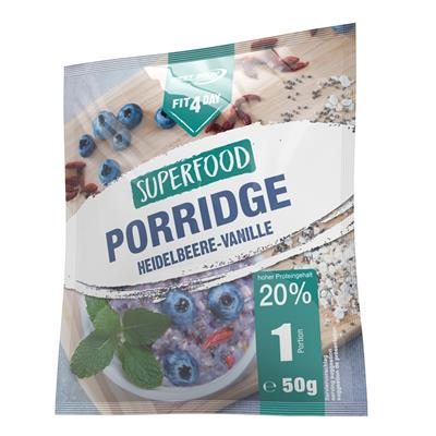 Superfood Porridge - Heidelbeere Vanille - 50 g Beutel